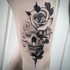 Good day Hudson Valley Tattoo Company G Girly Skull Tattoos, Skull Tattoo Flowers, Sugar Skull Tattoos, Black Ink Tattoos, Leg Tattoos, Flower Tattoos, Body Art Tattoos, Skull Thigh Tattoos, Butterfly Tattoos