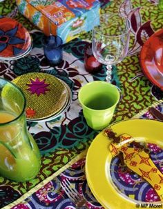 ⋴⍕ Boho Decor Bliss ⍕⋼ bright gypsy color & hippie bohemian mixed pattern home decorating ideas - Senegal kitchen inspiration African Interior, African Home Decor, African Textiles, African Fabric, African Prints, Afro, African Theme, African Style, African Fashion