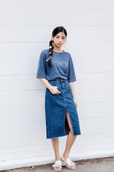 Vent Denim Midi Skirt | Korean Fashion