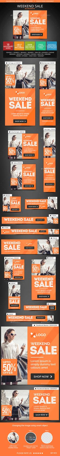 Weekend Sale Web Banners Template PSD #ad #design Download: http://graphicriver.net/item/weekend-sale-banners/14287373?ref=ksioks