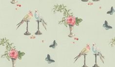 Perroquet (NCW3830/01) - Nina Campbell Wallpapers - a pretty whimsical composition of parrots, roses and butterflies in sugar sweet colours on a soft duck egg background – giving a soft airy feel to your room. Available in 4 colourways. Please ask for a sample for true colour match.