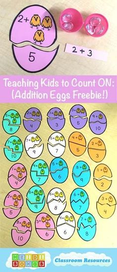 Teaching Kids to Count On- Addition Eggs Freebie