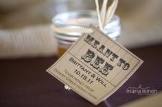 From Brittany & Will's fall rustic wedding at 1899 Farmhouse.  They made honey favors and attached these tags.  Super cute!