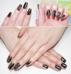 Black lace nail design!