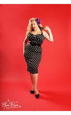 Deadly Dames Wiggle Dress in Black with White Polka Dots in Plus Sizes - Plus Size - Clothing   Pinup Girl Clothing