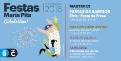 #FelizMartes #ACoruña Hoy en la programación de #MaríaPita16 tenemos las fiestas del barrio de Eirís, con su tradicional Festa da Fresa #visitacoruña #agosto #vacaciones Map, How To Make, Gastronomia, Short Stories, Summer Parties, Happy Tuesday, Strawberries, Traditional, Vacations