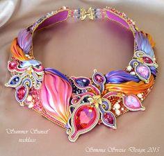 SUMMER SUNSET collana / necklace (embroidery technique with shibori silk) Simona Svezia Design, 2015 (Perline e Bijoux)