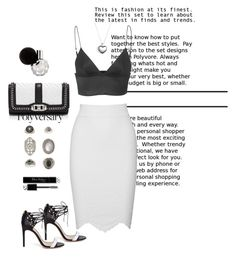 """Total Black&White look.."" by elenamp07 ❤ liked on Polyvore featuring Alexander McQueen, T By Alexander Wang, Rebecca Minkoff, Pandora, Topshop and Christian Dior"