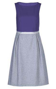 Shift Dress Audrey in Cobalt Blue/Flannel Hommage to Audrey Hepburn
