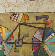 Julie Beyer, Five Trees and a Bike, mixed media