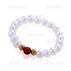 pulsera de perla brillo con bola dorado acero inoxidable -SSBTG924389