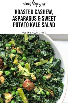 ROASTED CASHEW, ASPARAGUS AND SWEET POTATO KALE SALAD | Nourishing Yas - Simple Plant based Recipes #veganrecipes #kale #kalesalad #salad #vegansalad #veganmains #cashewsalad #glutenfree #dairyfree #veganlunch #vegandinner