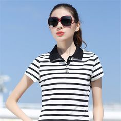 f5de6c478d08 Click to Buy    Summer Casual Striped Breathable Women s Polo Shirt Women  Cotton.