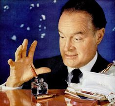 Bob Hope in a 1957 Parker Pens ad. I love Bob Hope, I even make the kids watch some of his movies and old shows....