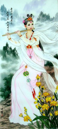 (North Korea) Korean traditional Eight Angels in Mt Geumgang by Han Mi-cheong (1960-  )
