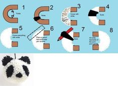 a pencil to extend the length of the yarn wrapping for the ears of this panda pom-pom. Original tutorial at MrPrintables Pom Pon, Pom Pom Rug, Cute Crafts, Crafts To Sell, Diy And Crafts, Pom Pom Crafts, Yarn Crafts, Pom Pom Tutorial, Pom Pom Animals