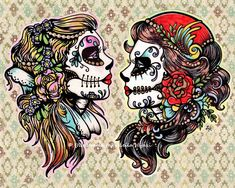 Day of the Dead Tattoo Flash Art Beauties 8 x 10 Print. $15.50, via Etsy.