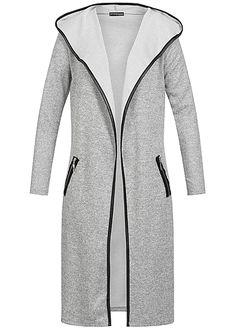 Styleboom Fashion Damen Long Cardigan Pipings 2 deko Zipper Kapuze grau melange Styleboom Fashion Cardigans/Ponchos | 77onlineshop im Online Shop preiswert kaufen