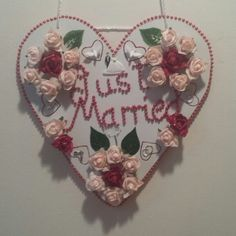 pink and red wedding sign