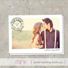"wedding thank you card photo announcement - ""Postal"". $64.00, via Etsy."