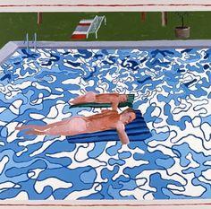 David Hockney, 'California Copied from 1965 Painting in 1987 / arte pop, piscina, alberca David Hockney Pool, David Hockney Paintings, James Rosenquist, The Last Summer, Pop Art Movement, Queer Art, Jasper Johns, Claes Oldenburg, Arte Pop