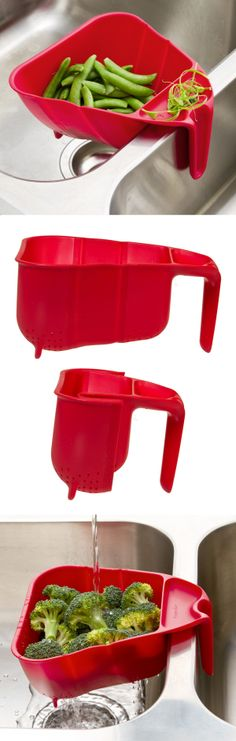 7 Cup Collapsible Prep Colander // clips over the sink and folds down for easy storage! #product_design #kitchen #gadget