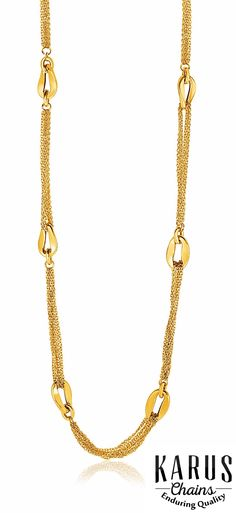 This variation on a classic long chain necklace features gold curved oval links connected by multi-stranded cable chain. Necklace is 30 inches long and closes with a fancy lobster clasp. #karuschains, #necklace, #finejewelry, #jewelry