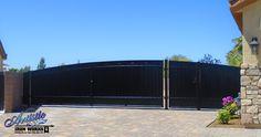 Rolling gate - Wrought iron driveway gate Wrought Iron Driveway Gates, Boulder City, North Las Vegas, Metal Fence, Doorway, Bouldering, Cement, Garage Doors, Flooring