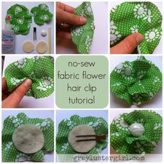 no sew fabric flower hair clip tutorial