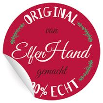 """54 süße Weihnachts Geschenk Aufkleber """"Original von Elfen Hand gemacht"""" auf rot, MATTE Papieraufkleber (ø 30mm; 54 x 1 Motiv)"""