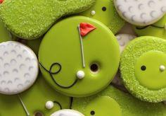 Easy to decorate golf cookies (Fancy Christmas Sugar Cookies) Golf Cookies, Fancy Cookies, Cute Cookies, Cupcake Cookies, Summer Cookies, Golf Cupcakes, Cookie Favors, Drop Cookies, Flower Cookies