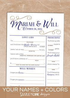 """Kiss that boring ole wedding guestbook goodbye & say hello to double-sided, custom multi-game """"wedding mad lib"""" cards that your guests will actually enjoy filling out! Games include love libs, newlywed predictions, well wishes, memory lane, marriage advice, & guest sketch. Fun + practical!"""