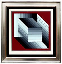 For $1895.00-$1895.00 you can own Victor Vasarely Color Silkscreen RARE Original HAND SIGNED Op Artwork Fond Rouge until auction ends in 9d 23h!