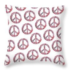 Far Too Pretty Peace Symbols Throw Pillow by Nola Lee Kelsey