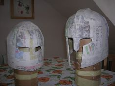 KNIGHT / CHEVALIER / RIDDER - COSTUME - Making Paper Mache Helmets and Swords