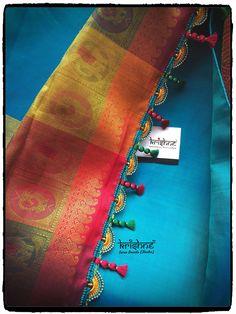 Saree Tassels Designs, Saree Kuchu Designs, Blouse Designs, Ethnic Sarees, Silk Sarees, Crochet Crocodile Stitch, Indian Designer Wear, Signature Design, Saree Wedding