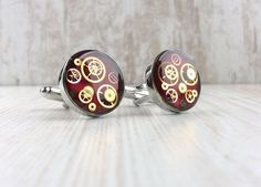 Red Steampunk Cufflinks. Silver Plated Chunky Cufflinks. Prom Wedding Cufflinks, Silver Plate, Steampunk, Prom, Trending Outfits, Unique Jewelry, Handmade Gifts, Accessories, Etsy