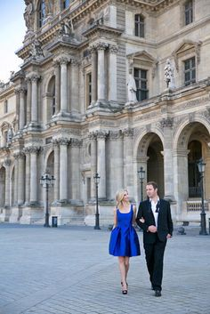 If you're feeling more glamorous, show off your best looks with a fancy cocktail dress. A richly hued party dress is going to look even better next to his black-and-white suit.  Source: One and Only Paris Photography via Style Me Pretty