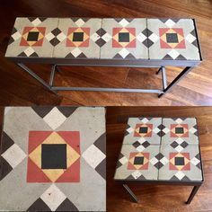 Tile top console table eg Diy Decor, Table, Steel Furniture, House Interior, Pretty Tables, Hydraulic Tiles, Tile Tables, Moroccan Decor, Interior Decorating