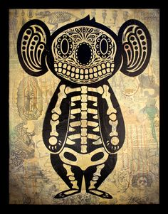 Koala of the Dead  Philip Lumbang & Ernesto Yerena  20″ x 26″  Stencil collage on canvas  $1500.00