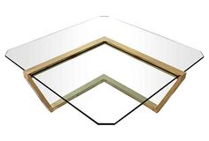 brass + glass cantilever coffee table