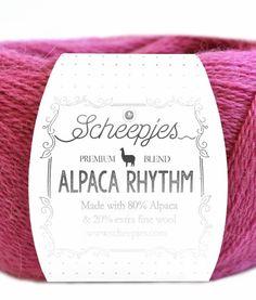 Alpaca Rhythm Samenstelling: 80% Alpaca 20% Extra Fine Wool Gewicht: ca. 25 g Looplengte: ca. 200 m Stekenverhouding: 28 steken x 32 naalden = 10 x 10 cm Naalddikte: 2,0 – 2,5 mm