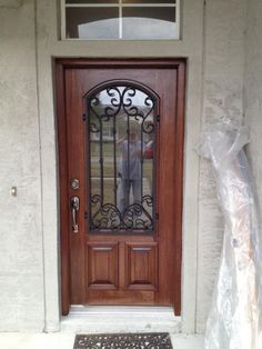 Beautiful Front Doors With Gl Wrought Iron And Custom