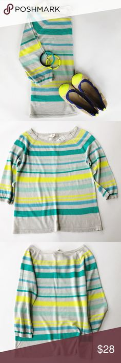 Ann Taylor LOFT sweater A great piece spring! LOFT lightweight  striped 3/4 sleeves sweater. LOFT Sweaters Crew & Scoop Necks