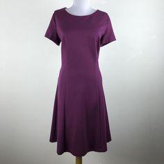 Talbots Dress Size 10 Solid Purple Career Work Short Sleeves Rayon Blend Womens #Talbots #Work