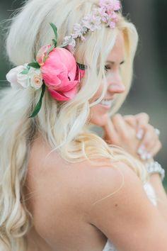 How OMG-gorgeous is this pink peony flower crown? http://www.stylemepretty.com/arizona-weddings/greer/2015/09/14/rustic-romantic-arizona-summer-wedding-2/   Photography: Andrew Jade - http://andrewjadephoto.com/