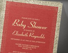 Red Gold Vintage Burlap Baby Shower Invitation