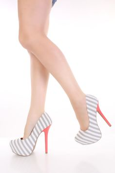 Light Grey Striped Fabric Pointy Toe Platform Pumps Heels / Sexy Clubwear | Party Dresses | Sexy Shoes | Womens Shoes and Clothing | AMI CLubwear