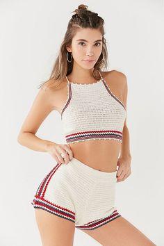 Slide View: 1: Out From Under Poppy Crochet Shorts Crochet Shorts Outfit, Crochet Pants, Crochet Bra, Crochet Bikini Pattern, Crochet Crop Top, Teen Fashion Outfits, Short Outfits, Summer Outfits, Crochet Poppy