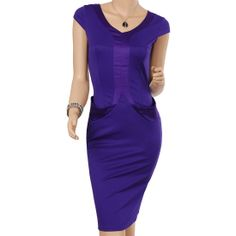 Women's V-Neck Cap Sleeves Office Dress Features: Intro: V-neck cap sleeve,Back Zip and vent, Front pocket design, knee length dress. Color: Purple, Material: Cotton, Polyester www. APUREMALL.COM